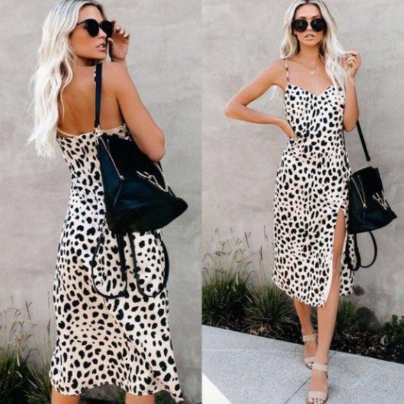 VICI Fast Feline Leopard Midi Slip Dress